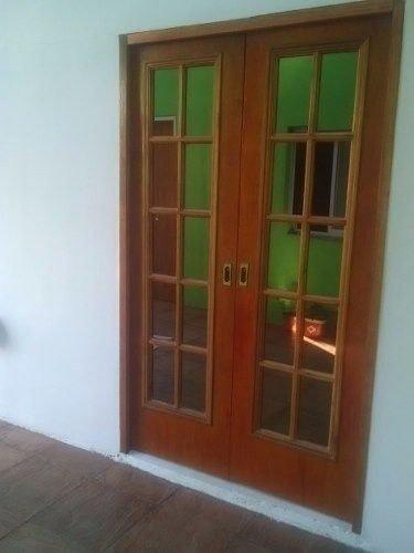 Puerta Doble Hoja De Interior Vidrio Repartido Ench Cedro
