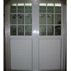 Puerta Doble Aluminio Blanco 1.60×2.00 1/2 Vidrio Repartido Libre Mantenimiento