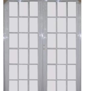 Puerta Doble Aluminio Blanco 1.60×2.00 Toda Vidrio Repartido Libre Mantenimiento